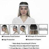 Spatmasker 1 Front Barrier + 2 Spare Front Barriers  Gratis | Gezichtsbescherming |Hygiene masker -Spatscherm--Gecertificeerd & Afwasbaar Gezichtsmasker | Beschermkap voor gezicht | Spatscherm | Face Shield | Spatkap | Gelaatscherm | gezichtscherm ||