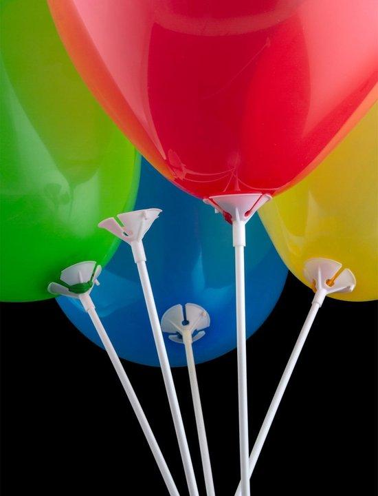 Ballonstokjes met cup 200 stuks wit 36 cm + 200 latex ballonnen 10