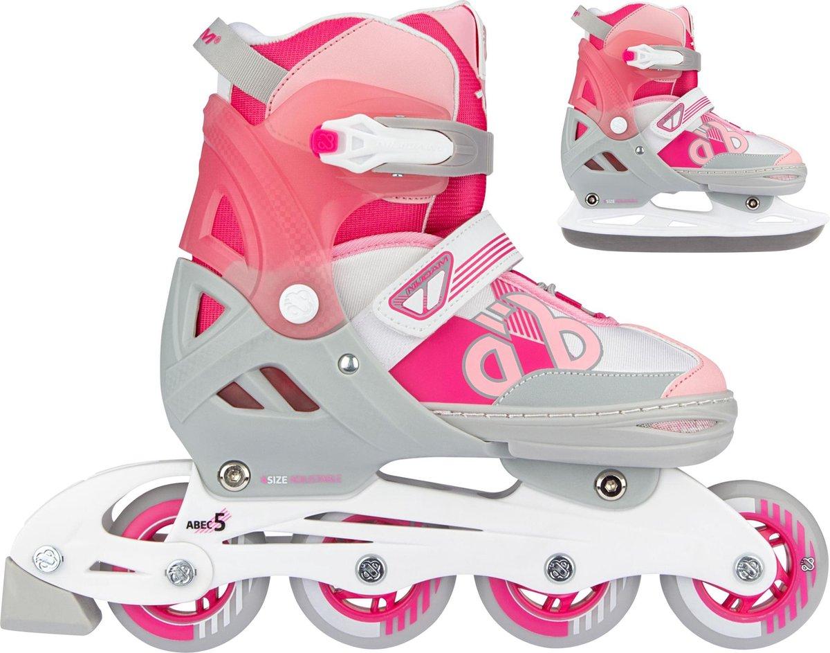 Nijdam Skates Combo Verstelbaar - Bold Berry - Fuchsia/Zilvergrijs/Wit/Roze - Maat 33-36