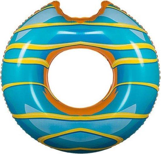 Opblaasbare blauwe donut zwemband 119 cm - XXL - Zwembenodigdheden - Zwemringen - Eet/snoep thema - Donut zwembanden groot voor volwassenen
