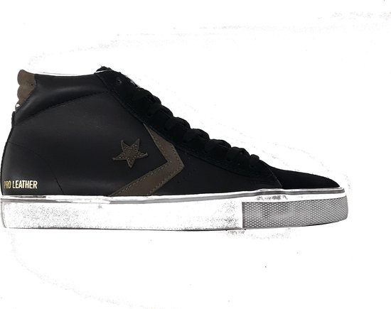 Converse pro leather vulc distressed mid black chocolate chip 158923C, maat 41