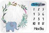 Mijlpaaldeken - Olifant - Milestone blanket - Baby deken - Kraam cadeau - Babyshower kado - Mijlpaal kaart - Fotodoek - Fotoherinnering - Incl. Frame - Extra zacht