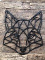 Muur- wanddecoratie  Vos zwart M / geometrisch / cadeau / verjaardag / vaderdag / moederdag /kinderkamer / babykamer