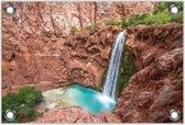 Tuinposter–Waterval in de Rotsen– 120x80 Foto op Tuinposter (Wanddecoratie voor buiten en binnen)