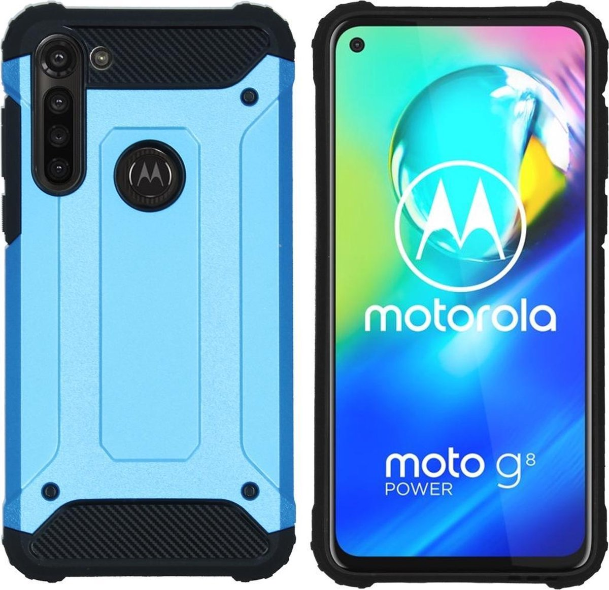 Afbeelding van product iMoshion Rugged Xtreme Backcover Motorola Moto G8 Power hoesje - Lichtblauw