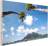 Bora Bora Oceanie Hout 30x20 cm - klein - Foto print op Hout (Wanddecoratie) / Zee en Strand