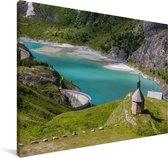 Turquoise meertje in het Oostenrijkse Nationaal park Hohe Tauern Canvas 120x80 cm - Foto print op Canvas schilderij (Wanddecoratie woonkamer / slaapkamer)