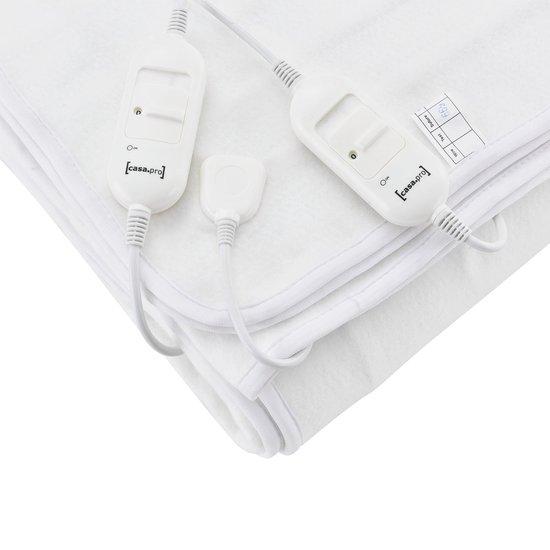 Elektrische deken warmtedeken wit tweepersoons 160x140 cm