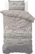 Sleeptime Love and Relax Dekbedovertrekset - Eenpersoons - 140x200/220 + 1 kussensloop 60x70 - Taupe