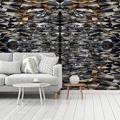 Fotobehang vinyl - Schitterende vormen van de Titanic Belfast breedte 350 cm x hoogte 260 cm - Foto print op behang (in 7 formaten beschikbaar)