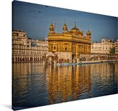 Weerspiegeling van de Gouden Tempel Canvas 90x60 cm - Foto print op Canvas schilderij (Wanddecoratie woonkamer / slaapkamer)