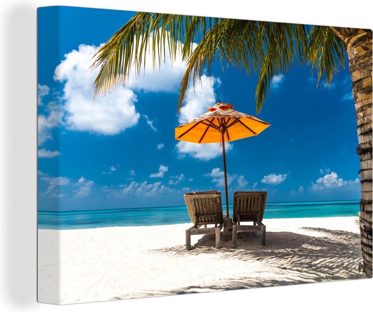 Oranje Parasol Op Een Strand Canvas 140x90 Cm Foto Print Op Canvas Schilderij Wanddecoratie Woonkamer Slaapkamer Zee En Strand Winkelen Nl