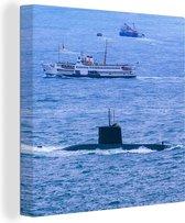 Een onderzeeboot op de zee 20x20 cm - klein - Foto print op Canvas schilderij (Wanddecoratie woonkamer / slaapkamer) / Zee en Strand