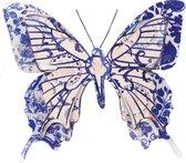 1x Tuindecoratie vlinder van metaal blauw/creme wit 31 cm - Metalen schutting decoratie vlinders - Dierenbeelden tuindecoratie