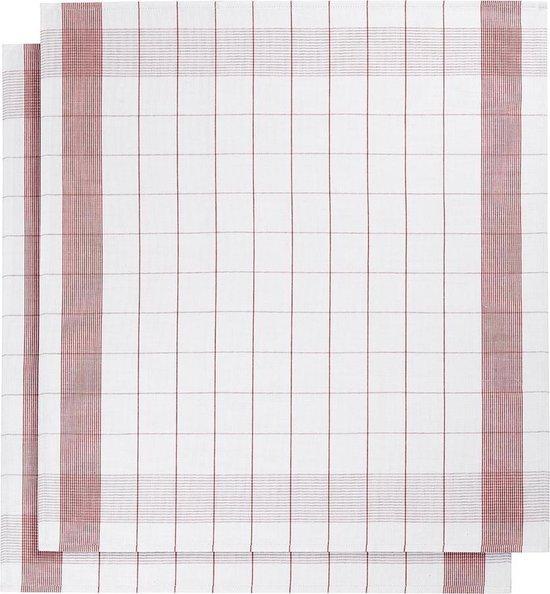 De Witte Lietaer keukenhanddoek - Theedoek - 68x68 cm - Set van 2 - White-Red