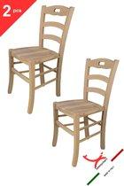 Tommychairs - Set van 2 klassieke stoelen model Savoie. Zeer geschikt voor keuken, bar en eetkamer, sterke structuur in gepolijst beukenhout, niet behandeld, 100% natuurlijk en zitting in hout