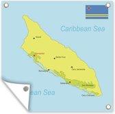 Een illustratie van een groene kaart van Aruba tuinposter 100x100 cm - Tuindoek / Buitencanvas / Schilderijen voor buiten (tuin decoratie)