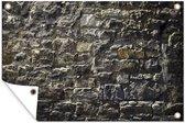 Grijze antieke stenen muur tuinposter 90x60 cm - Tuindoek / Buitencanvas / Schilderijen voor buiten (tuin decoratie)