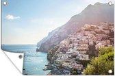 Het dorpje Positano aan de Amalfikust tuinposter 120x80 cm - Tuindoek / Buitencanvas / Schilderijen voor buiten (tuin decoratie)