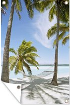 Tuinposter - Palmboom - Hangmat - Zand - 80x120 cm