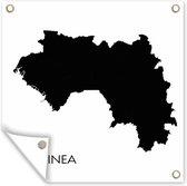 Illustratie van het zwarte silhouet van Guinee tuinposter 100x100 cm - Tuindoek / Buitencanvas / Schilderijen voor buiten (tuin decoratie)