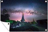 De Melkweg zichtbaar bij de twee koninklijke tempels van het Nationaal park Doi Inthanon Tuinposter 60x40 cm - klein - Tuindoek / Buitencanvas / Schilderijen voor buiten (tuin decoratie)