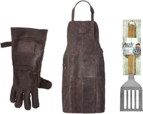 Luxe Leren Barbecueschort - Bruin - Incl. gratis handschoen en Jamie Oliver spatel