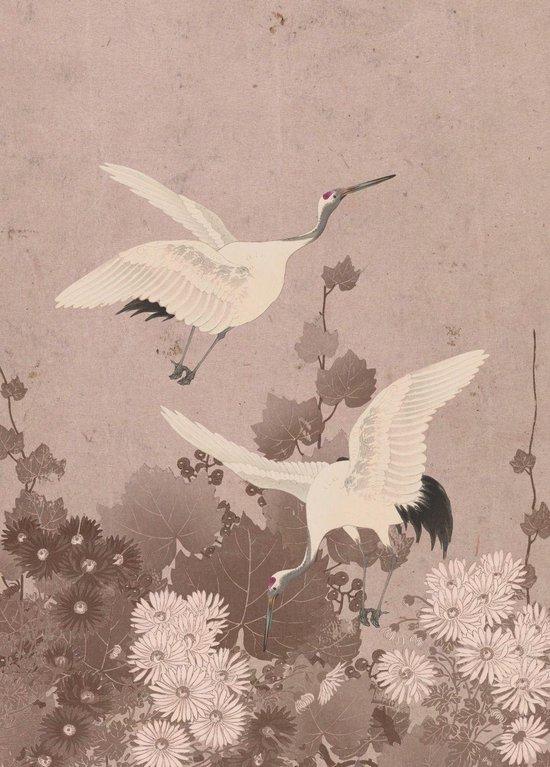 ESTAhome fotobehangpapier kraanvogels grijs roze - 158946 - 2 x 2.79 m