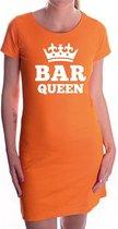 Bar queen met witte kroon jurk oranje voor dames - Koningsdag - supporters kleding / oranje jurkjes S