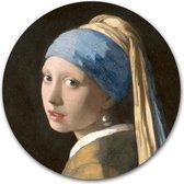 Wandcirkel Het Meisje met de Parel | Meesterwerk van Johannes Vermeer | Aluminium 120 cm | Ronde kunstwerken en schilderijen | Wanddecoratie voor binnen en buiten | Muurcirkel Oude Meesters op Dibond
