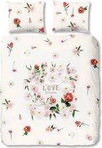 Good Morning 5574-P Bloemetjes - dekbedovertrek - eenpersoons - 140x200/220 cm  - 100% cotton - wit