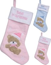 Grote Kerstsok 40 cm ROZE baby's first christmas