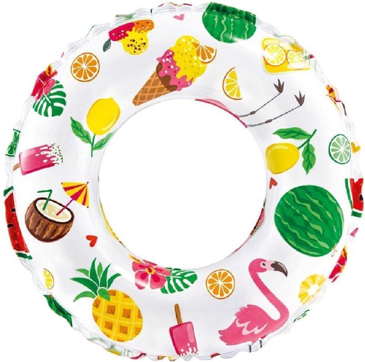 Opblaasbare transparante zwemband tropisch 51 cm - Zwembenodigdheden - Zwemringen - Tropisch thema - Tropische print zwembanden voor kinderen