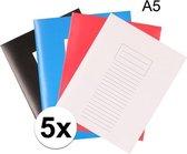 A5 lijntjes schriften - Assorti - 5 stuks