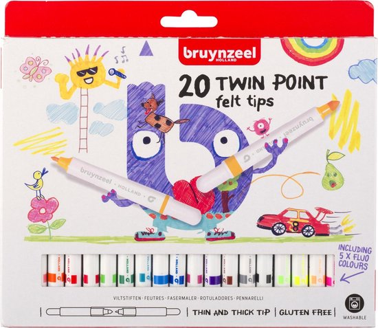 Afbeelding van Bruynzeel Kids - 20 viltstiften - dubbele punt