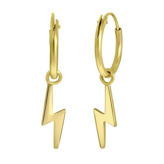 LucardixDjamila - Zilveren goldplated oorringen met hanger bliksem