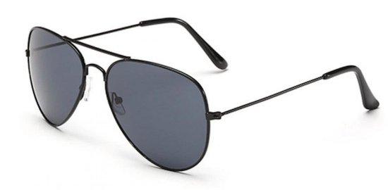 Hidzo Zonnebril Aviator Zwart - UV 400 - Zwarte Glazen