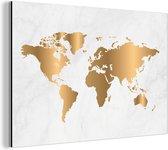 Wereldkaart Goud Marmer aluminium   Wereldkaart Wanddecoratie Aluminium 90x60 cm