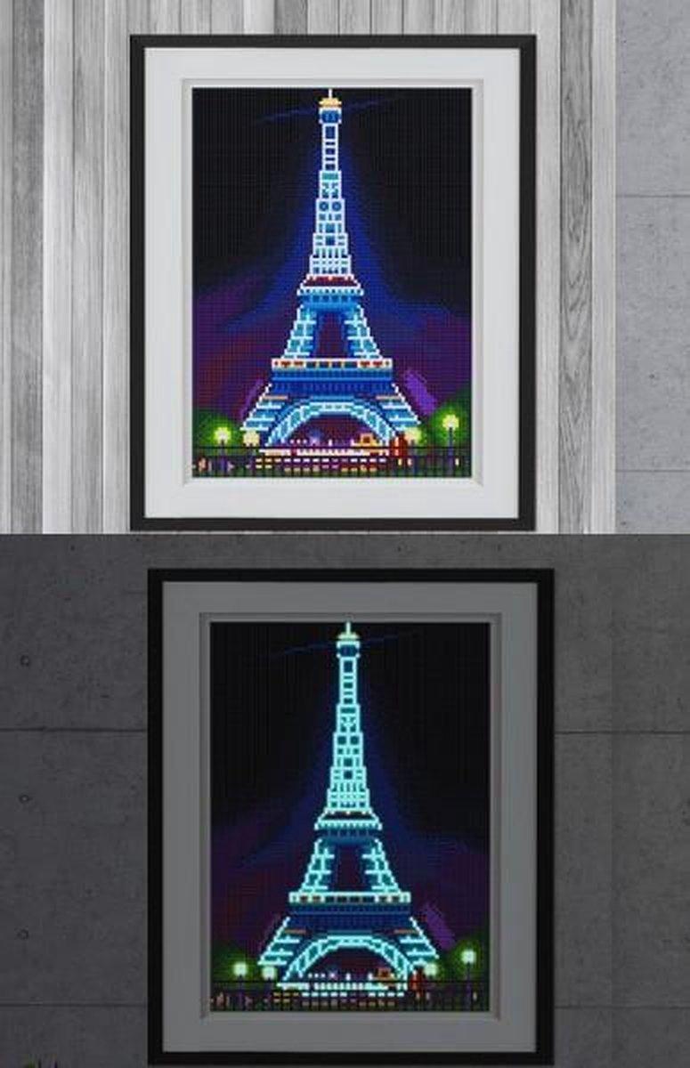 Glow In The Dark Diamond Painting Volwassenen/Kinderen - Ronde Steentjes - Volledig Pakket - Hobby - Steden - De Eiffeltoren in Parijs 35x25cm