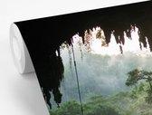 Fotobehang Diep in de jungle - Uitzicht vanuit grot in Borneo breedte 450 cm x hoogte 300 cm - Foto print op vinyl behang (in 7 formaten beschikbaar) - slaapkamer/woonkamer/kantoor