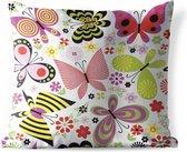 Buitenkussens - Tuin - Een illustratie van vlinders en bloemen - 40x40 cm