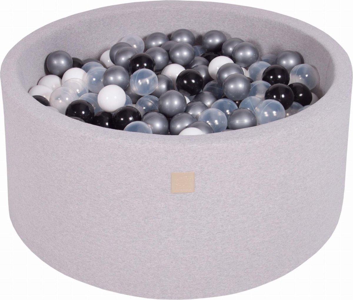 Ronde Ballenbak set incl 300 ballen 90x40cm - Licht Grijs: Wit, Zwart, Transparant, Zilver