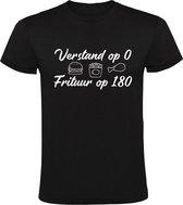 Verstand op 0, Frituur op 180  Heren t-shirt | eten | friettent | patat | niet nadenken | Zwart