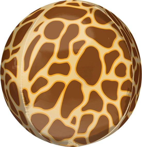 Orbz Folieballon Giraffe Print 41 Cm Bruin/geel