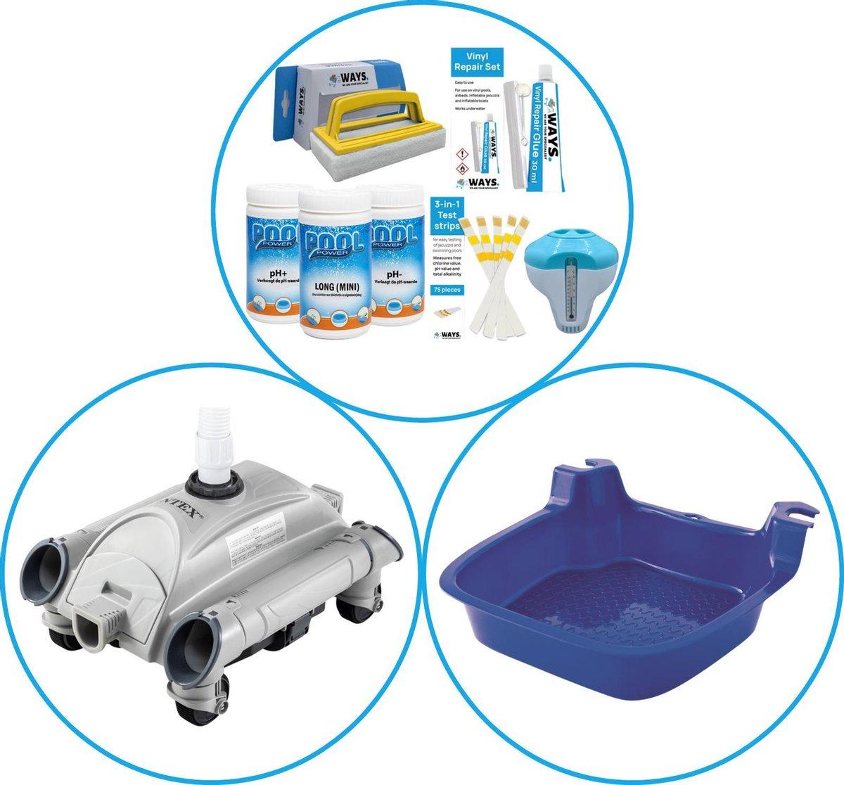 WAYS - Zwembad Accessoirepakket 3-delig - WAYS Onderhoudspakket & Automatische Zwembad stofzuiger & Voetenbad