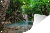 Tuinposter - Erawan Waterval in jungle Thailand foto - 120x80 cm - Tuin