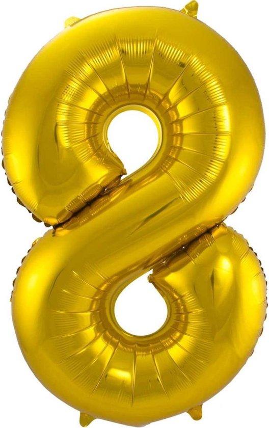 Ballon Cijfer 8 Jaar Goud 36Cm Verjaardag Feestversiering Met Rietje