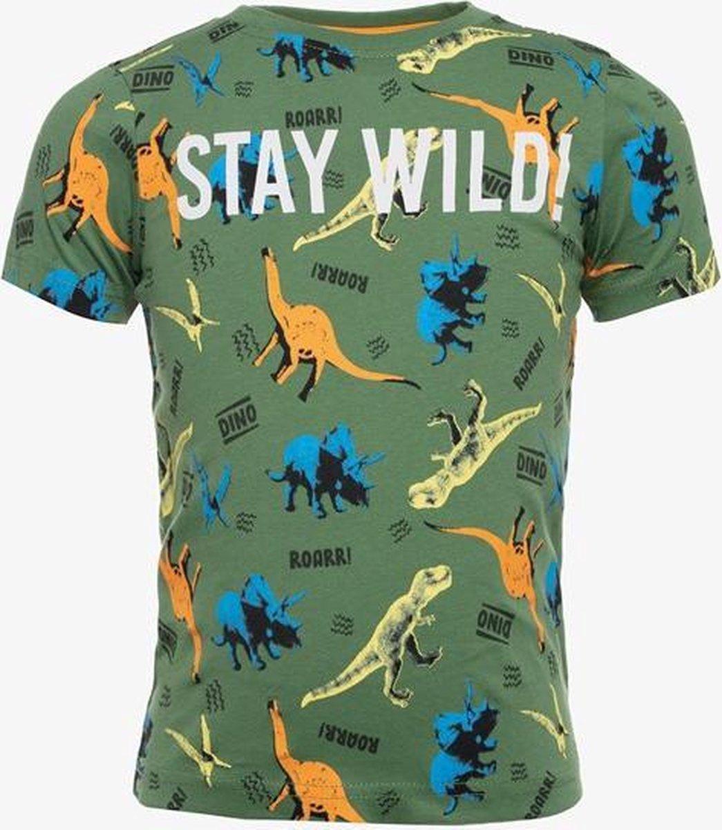 TwoDay jongens T-shirt met dino print - Groen - Maat 98/104