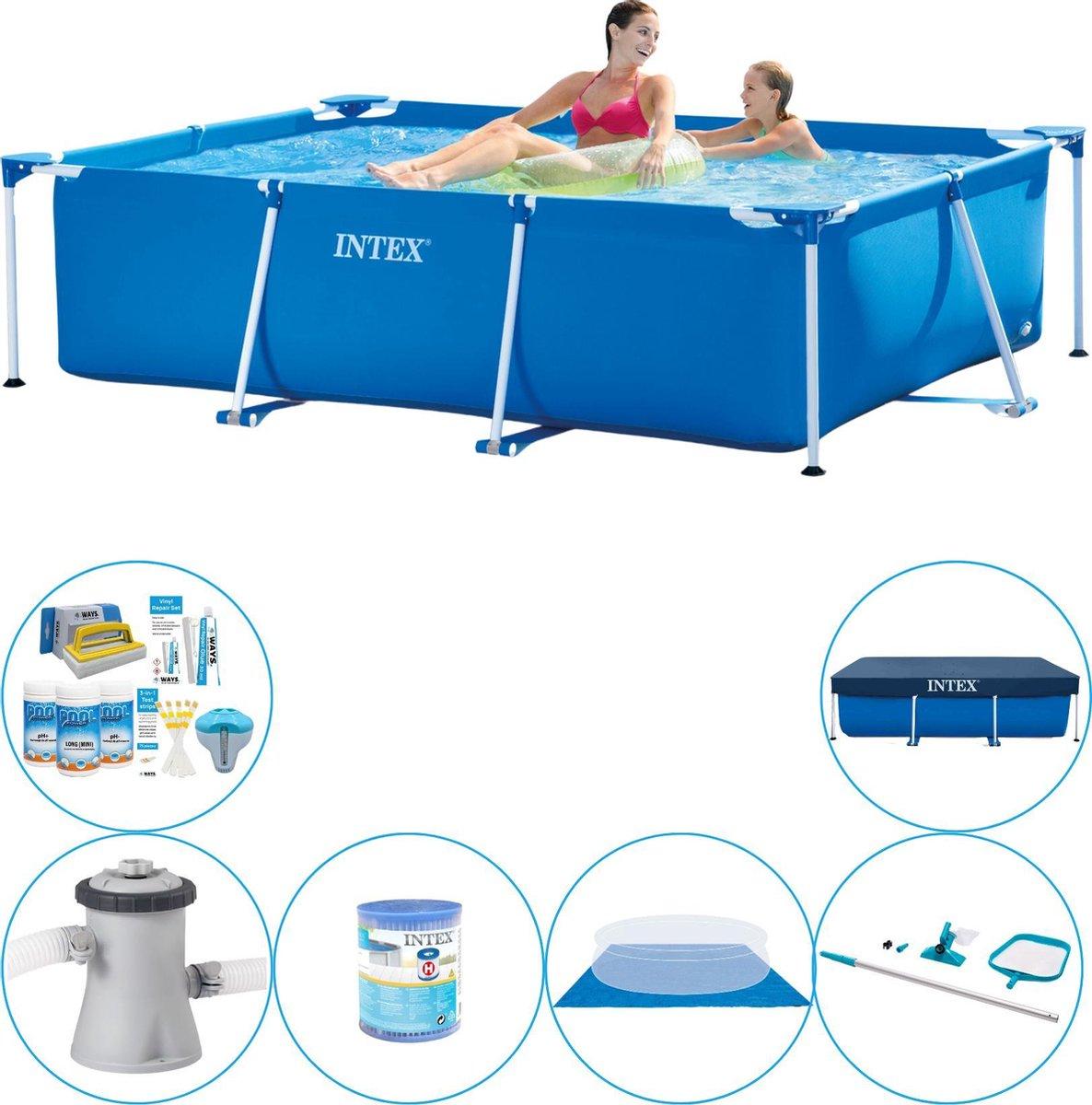 Intex Frame Pool Rechthoekig 220x150x60 cm - Zwembad Combi Deal