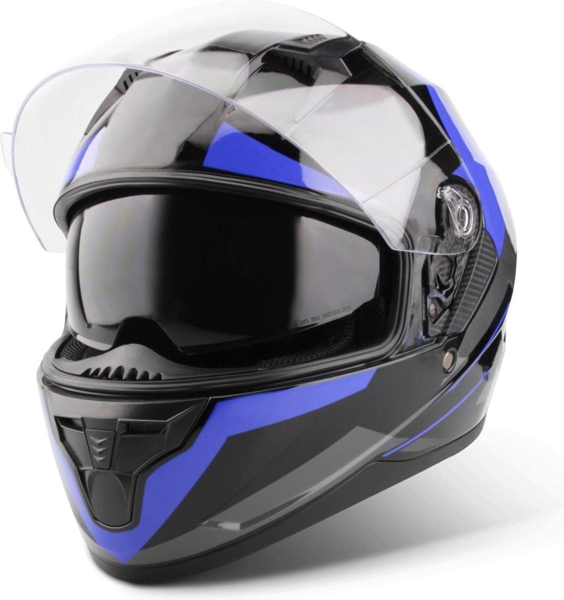 Vinz Becket Integraalhelm met Zonnevizier / Motorhelm / Scooter helm / Brommerhelm   Blauw